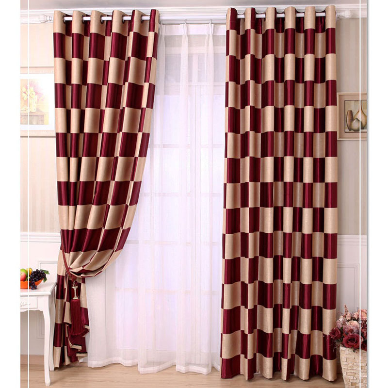 Single Panel Fashion Modern Plaid Style Blackout Curtain Luxury Living Room Cloth Curtains