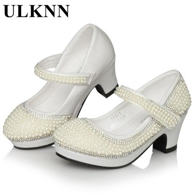 ulknn niñas perla zapatos de cuero para tacones altos boda zapatos
