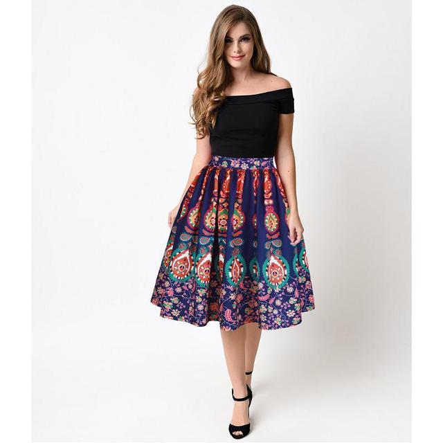 0b65e3aa42b15 Imprimé Floral Vintage Plissée Jupe Patineuse Midi Jupe Taille Haute robe  de Bal Femmes Bohème Jupe