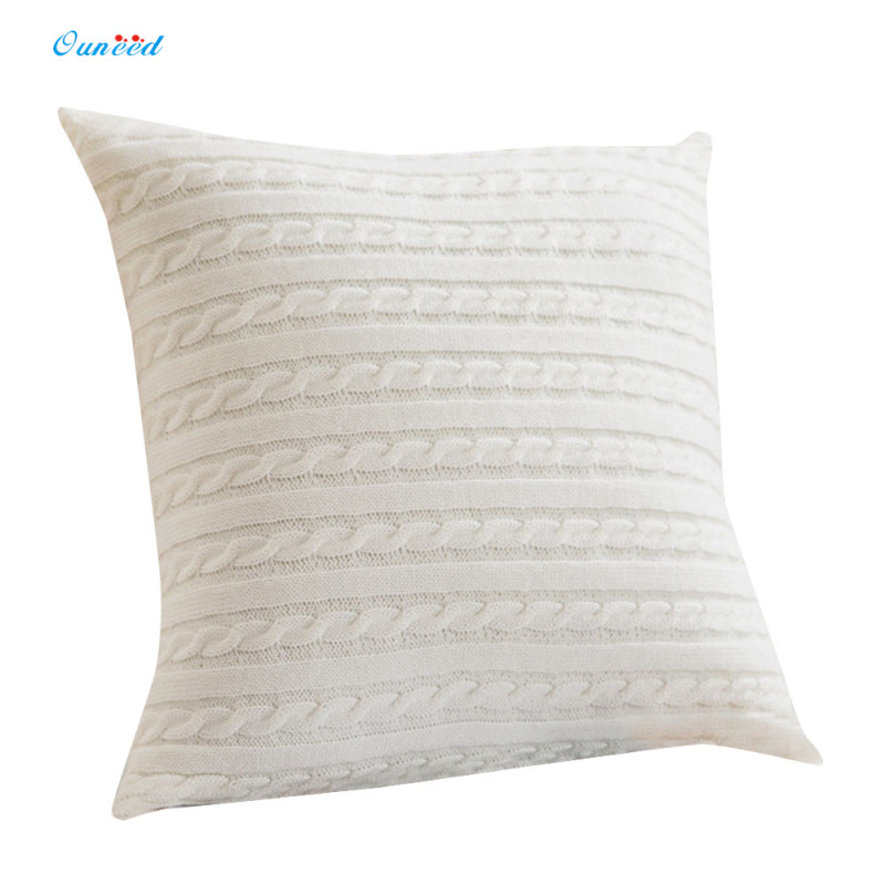 Ouneed Twist Knitting Solid Pillow Case 45cm*45cm Zipper Cushion Cover Decorative Pillow Case Pillow Decorative Gift 1PC