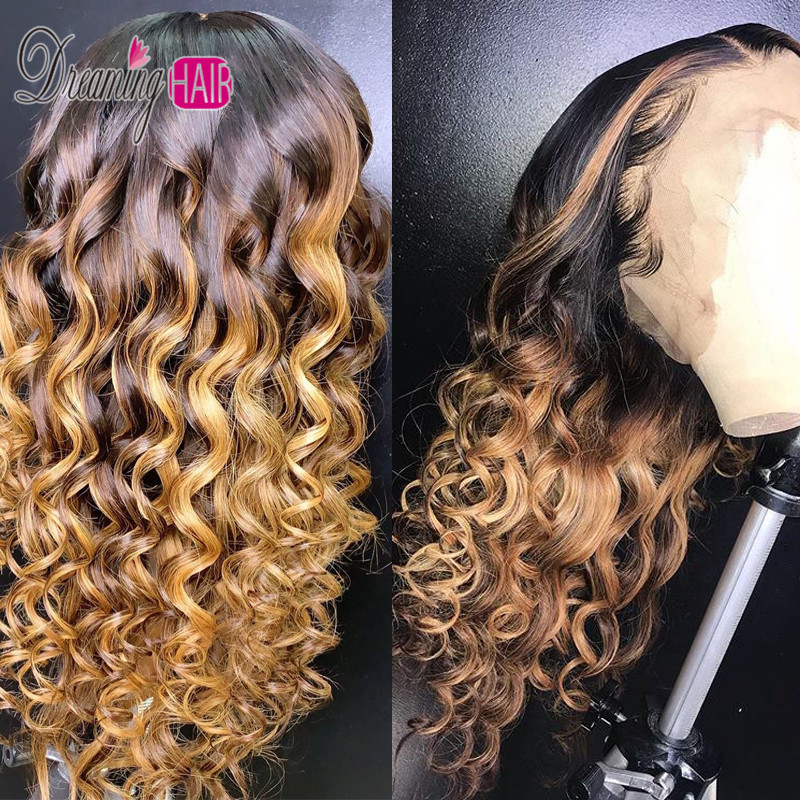 1B/30  Water Wave 13x6 Lace Front Human Hair Wigs With Baby Hair Wavy Pre Plucked Ombre Color Brazilian Remy Hair Wigs For Women