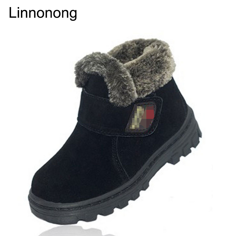 New Winter Kids Warm Boots High Quality Thicken Children Plush Snow Boots Waterproof Leather Boys Girls Soft Shoes Size 23-36 7 colors brand new winter warm boots for girls boys high quality snow boots children s casual shoes kids soft warm snow boots