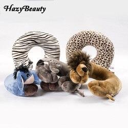 Cute Animal poduszka pod kark w kształcie litery U lew/słoń/żyrafa/małpa samochód poduszka podróżna dla biura samolotu nadziewane pluszowa zabawka prezent
