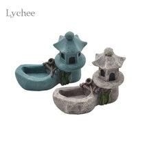 Lychee yaşam Zen bahçe gölet kulesi Fengshui aksesuar kulesi reçine zanaat figürleri minyatür ev dekorasyon