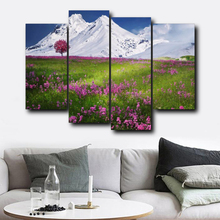 Laeacco Canvas Calligraphy Painting 4 Panel Grasslands Snow Mountain Art Garden Posters and Prints Nordic Home Living Room Decor