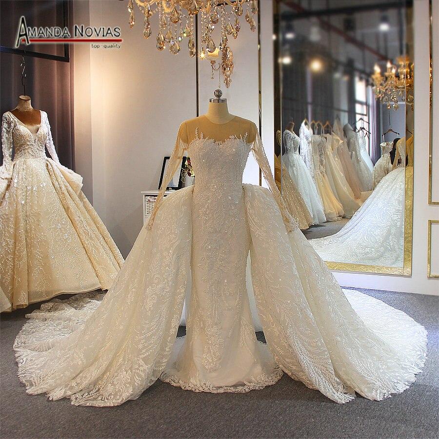 2019 Amanda Novias full lace wedding dress mermaid with detachable skirt long trainWedding Dresses   -