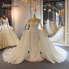 2019 Amanda Novias full lace wedding dress mermaid with detachable skirt long train