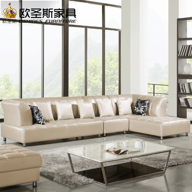 Barcelona Silver Modern Corner L Shape Sectional Cow Leather Sofa Set Designs And Prices New 2017 Ocs 115