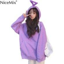 NiceMix Autumn Harajuku Velvet Hoodies Women Sweatshirt Kawaii Unicorn Horn Solid Pullover Clothes Moletom Feminino