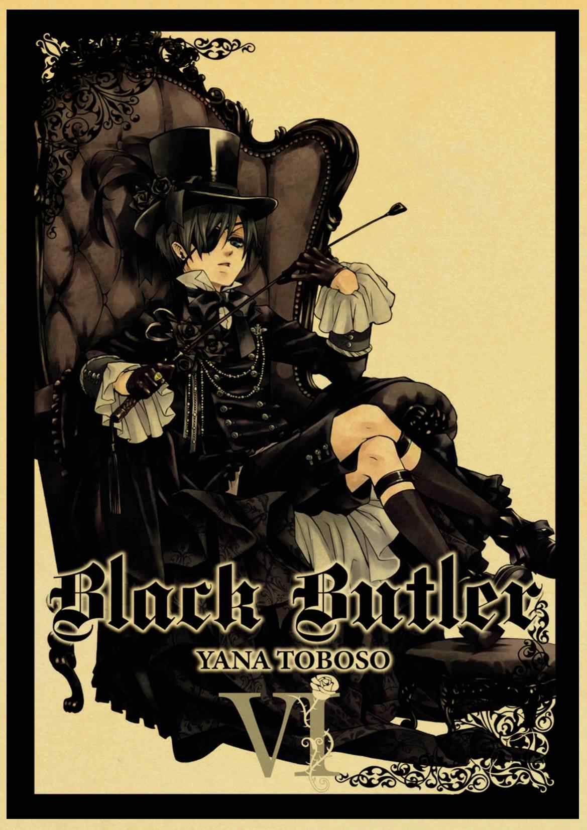 Japanese Anime Black Butler Retro poster Home decoration Kraft Poster Painting Wall stickers