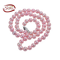 7mm AA Round Pink Color 925 Sterling Silver Real Natural Pearl Necklace