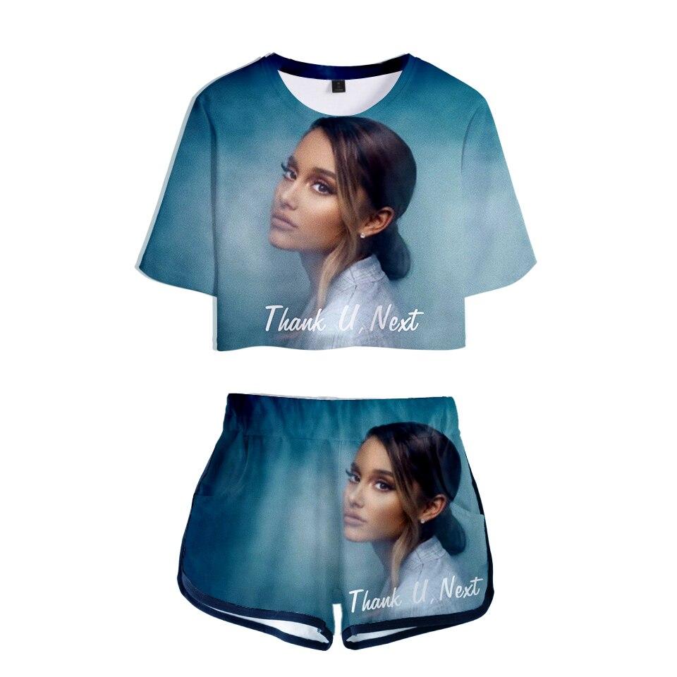 84ca9de26f Hot Sale] KPOP Casual Crop Tops 3D Ariana Grande Thank U Next Shorts ...