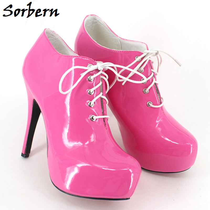 Sorbern Unisex Plus Size Boots Ankle Boots For Women Large Size 36-46 Lace Up 15CM Gay Dance Cheap Modest Boots Sexy Fashion moonight cheap red overbust sexy corset top lace up corsets and bustiers plus size