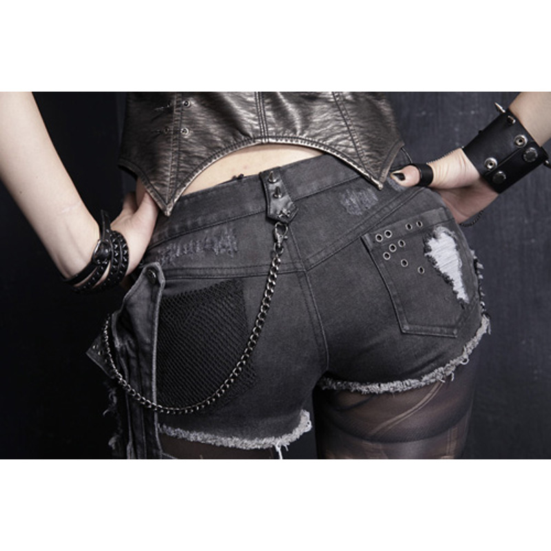 Punk Rave Rock Hot Shorts Visual Kei Cotton Heavy Metal Chain Jeans short pants S 3XL K127-in Shorts from Women's Clothing    2