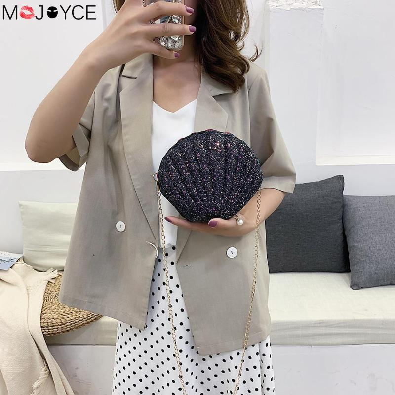 Women Fashion Chain Sequined Shoulder Bag For Women Pu Leather Handbags Cute Shell Shape Purse Mini Summer Bag Bolsa Feminina