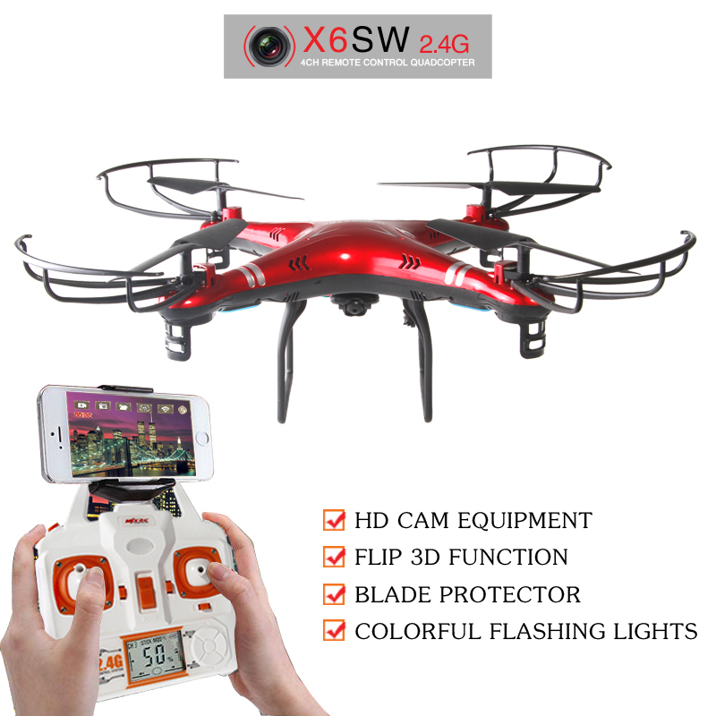 WIFI FPV Camera RC Drone X6SW Quadcopter Gopro Professional Drones With Free 850mah Battery VS Syma X5SW MJX X705C In Remote Control Toys From