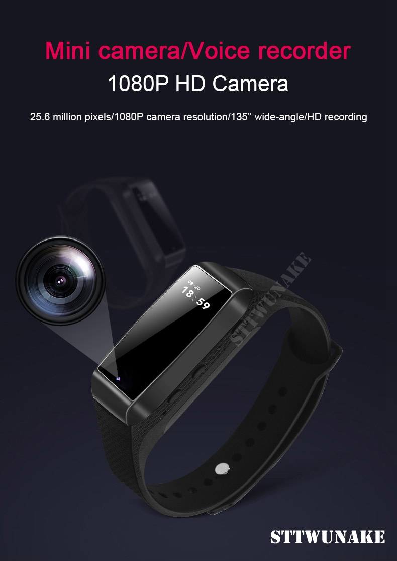 STTWUNAKE HD 1080P Digital Mini Camera DV Video Voice Recorder hidden Sports Smart Bracelet Micro Cam