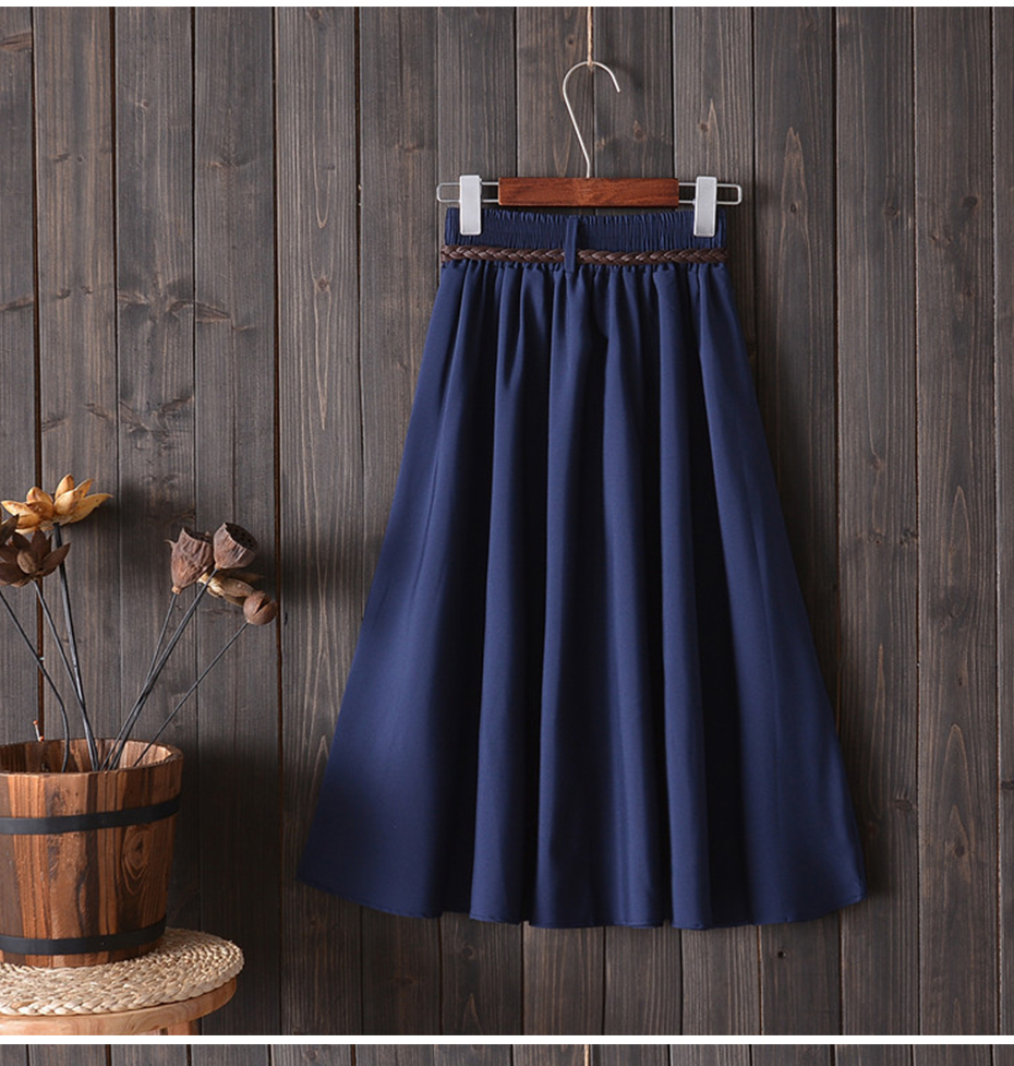 Surmiitro Midi Knee Length Summer Skirt Women With Belt 19 Fashion Korean Ladies High Waist Pleated A-line School Skirt Female 5