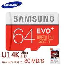 Samsung tarjeta de memoria de 256 gb 128 gb 64 gb 32 gb 16 gb 80 m/s evo + microsd tarjeta de almacenamiento evo plus tarjeta original del tf class10 sdhc sdxc uhs-1