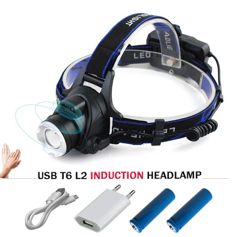 Indução led farol usb zoom xm l2 t6 led lanterna testa à prova dwaterproof água luz do flash tocha 18650 bateria