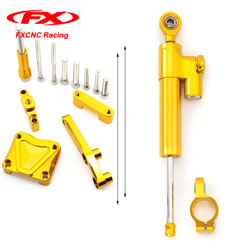 FXCNC Gold Steering Damper Stabilizer Mounting Safety Control + Brackets kit for Kawasaki EX300 NINJA300 2014 2015 13-16 EX 300 pannovo waterproof pu leather extra thick anti shock eva case for gopro hero 4 3 3 2 sj4000