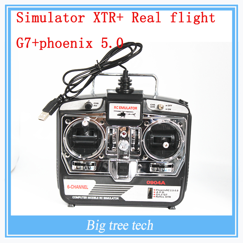 HM UAV simulator Phoenix 5.0 6 Channel axis airplane remote control G7 G6.5 one dongle 22 Real flight G7 +phoenix 5.0