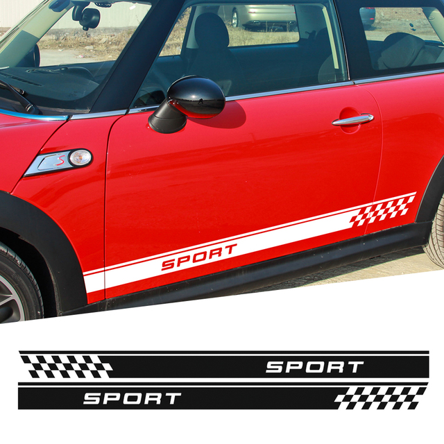 Discount Door Side Stripes Sticker Sport Checker Flag For Mini