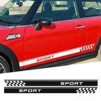 Sport Checker Flag Graficzne Naklejki Boczne Drzwi Naklejka Paski dla MINI Cooper One S F56 R61 R60 Countryman Paceman F55 R56 R50 R53
