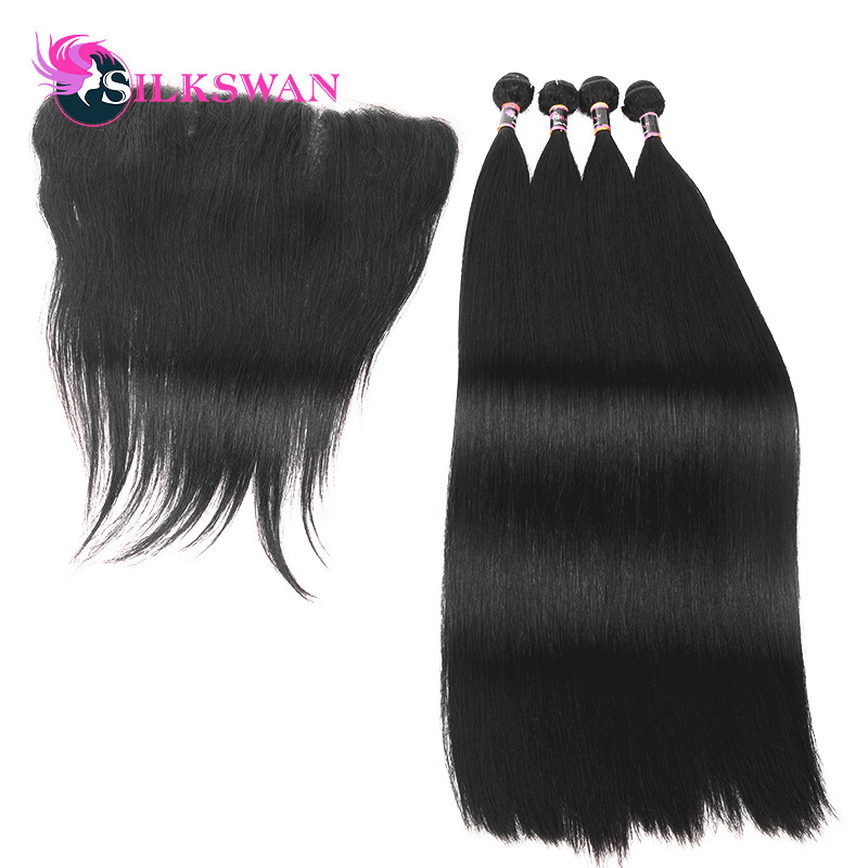 Silkswan Peruvian Ear To Ear Lace Frontal With 3 Bundles Straight Human Remy hair Weaves With