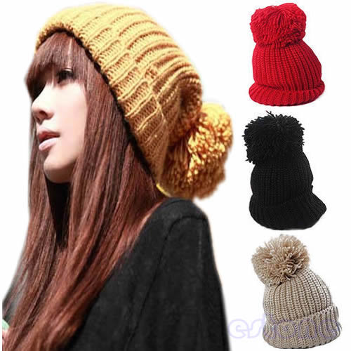Women's Girl's Winter Slouch Knitting Cap Warm Beret Beanie Crochet Ski Hat Hot lovely 4 colors kids baby crochet knit cap knitting winter warm beret hat cap bb75
