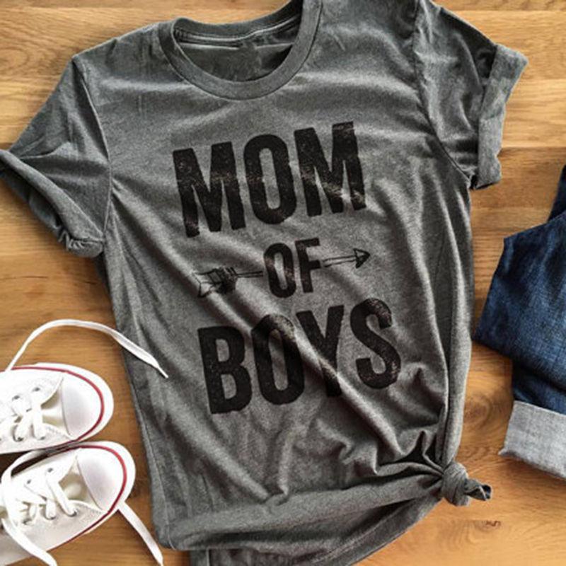 New fashion women casual   shirt   letter MOM OF BOYS   t  -  shirt   red grey short sleeve tee   shirt   lady   shirt