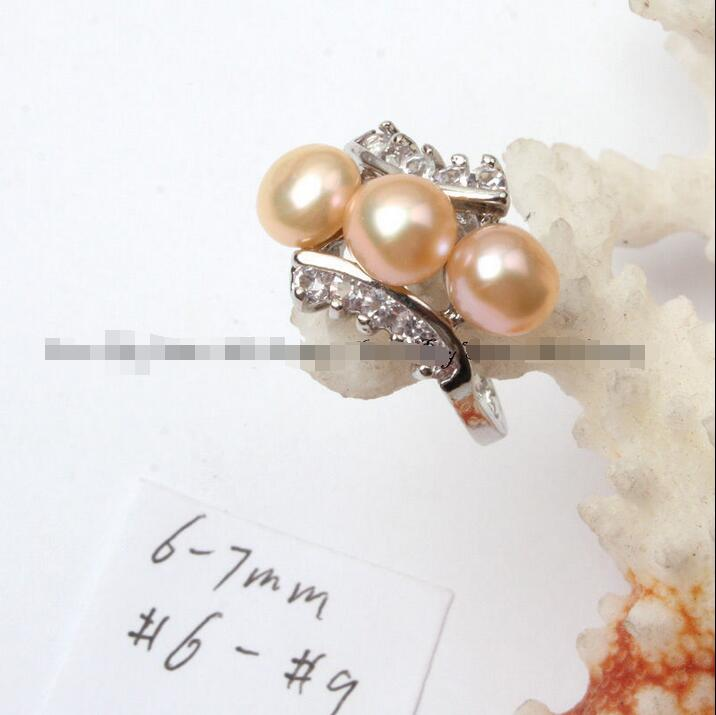 Wholesale price 16new ^^^^6-7mm pink natural freshwater pearl white gold plated ring US size #6 -#9