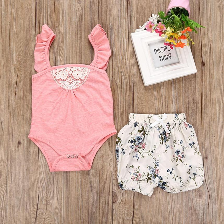 Baby Girls Clothes Lace Romper bodysuit+Short Pants Summer Baby Outfit Clothing Set Floral Jumpsuit Set For 0~24 Months Baby 3pcs mini mermaid newborn baby girl clothes 2017 summer short sleeve cotton romper bodysuit sea maid bottom outfit clothing set