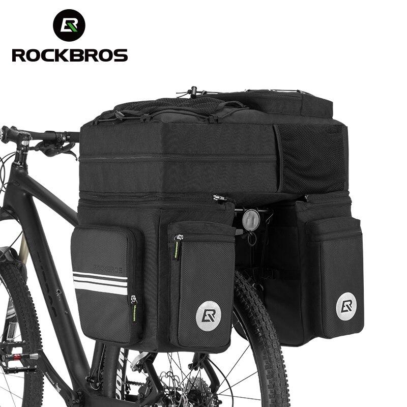 ROCKBROS Bike Bags 48 L MTB Mountain Bike Rack Bag 3 in 1 Multifunction Road Bicycle Pannier Rear Seat Trunk Bag With Rain Cover rockbros titanium ti mtb road bike bicycle pedals pedal spindle wellgo mg1 mg 1 mg 1