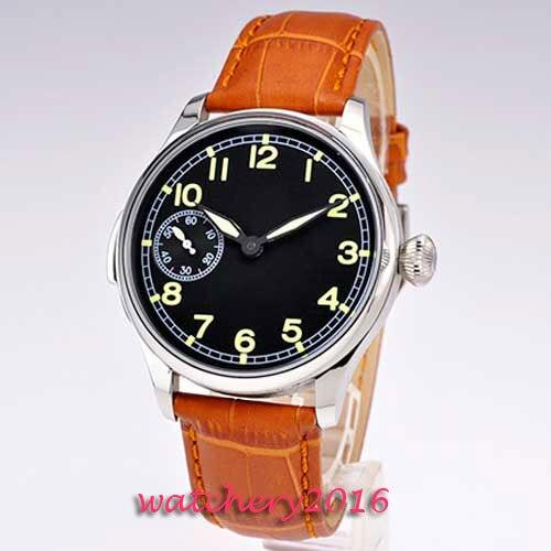 цена 44mm parnis black dial Luminous Marks brown leather strap ST 6497 Mechanical ST manual wind mens watch онлайн в 2017 году