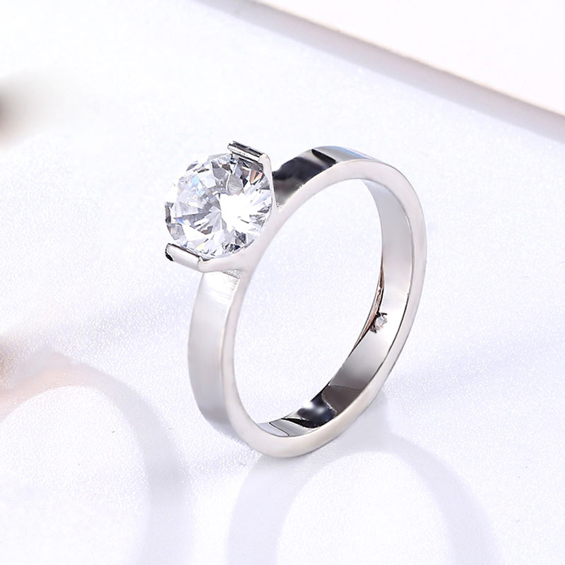 Hot 1 Carat Shiny Crystal Ring For Wedding Titanium Steel Top Quality Gold Color Jewelry Love Gift Woman Ring Wholesale 2