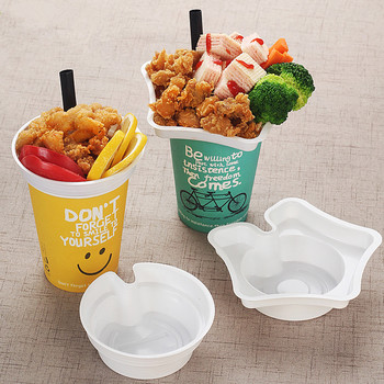 50pcs Creative fried chicken snack fries cup holder disposable cold and hot drink packaging paper cups with steak cup