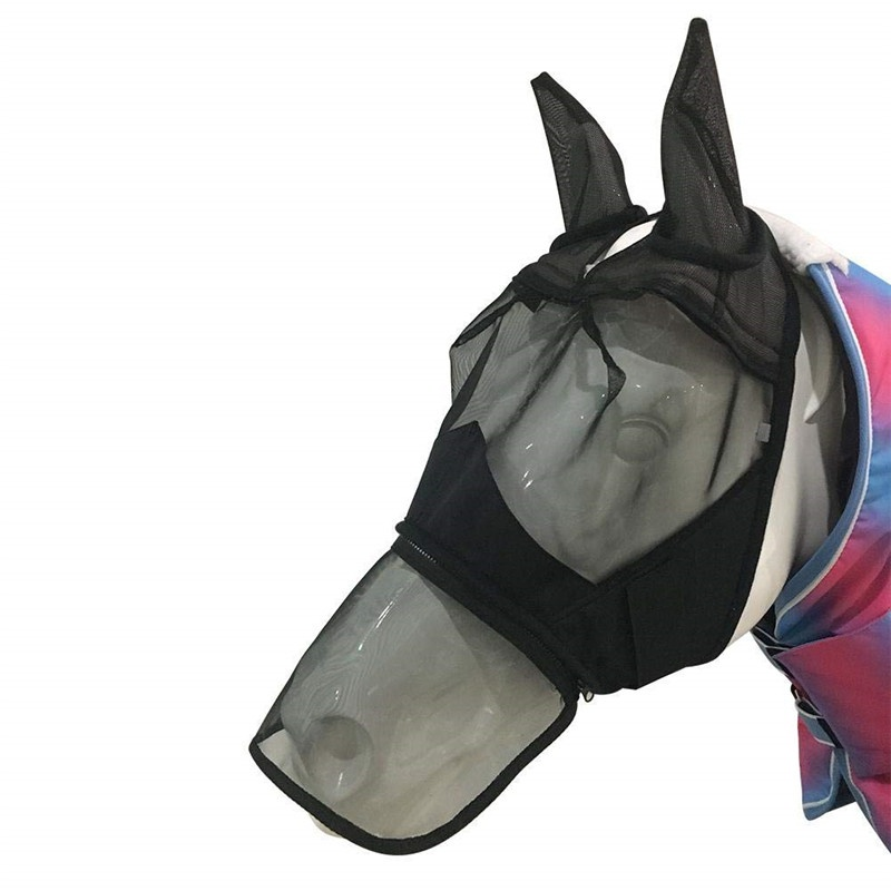 Horse Fly Mask Full Face Mesh  Anti Breathable Anti-UV Meshed Protector Fly Mask Ears Accessories