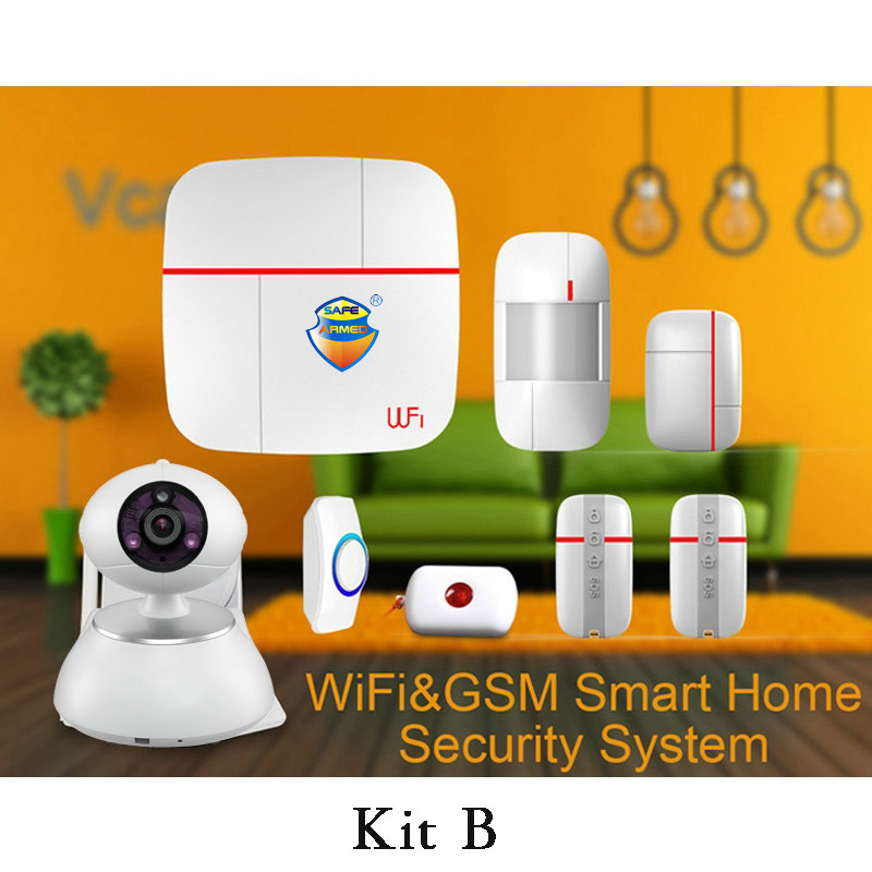 (1 set Kit B) Vcare WIFI GSM Dual-network Intelligent Alarm system IOS&Andorid APPS Camera Home Security Alarm PIR Door open
