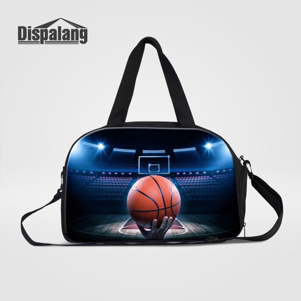 3D печати баскетбольные мячи путешествия вещевой мешок для Для мужчин на открытом воздухе спортивная выходные сумки с обувь карман Холст ве...
