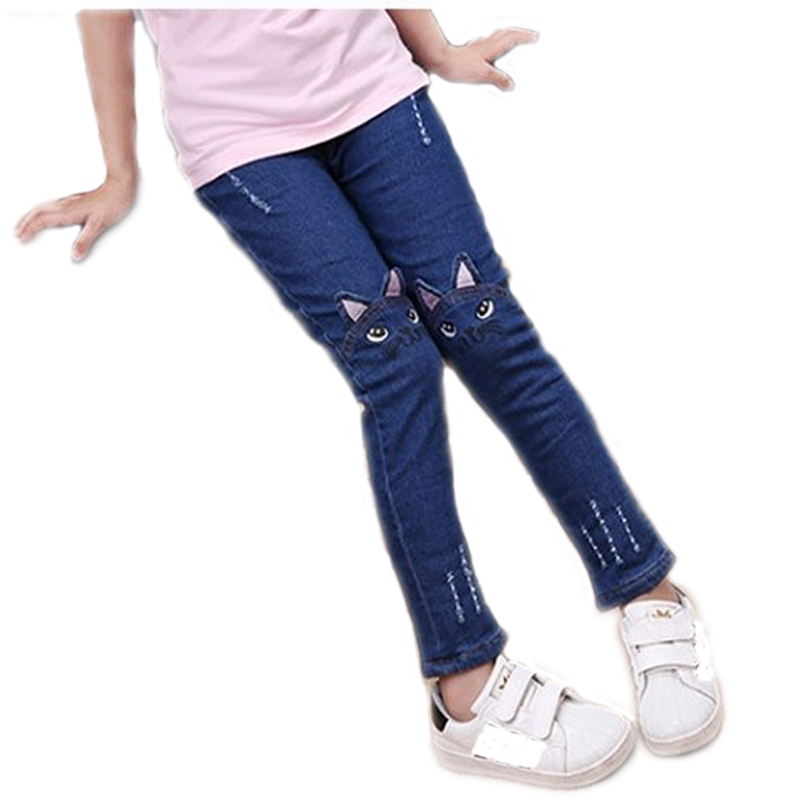cd67548845970 Girls Jeans Pants 2019 Spring Fashion Kids Leggings embroidery Cartoon Cat  Children Pencil Pants Long Trousers Pantalon Fillette-in Pants from Mother  & Kids ...