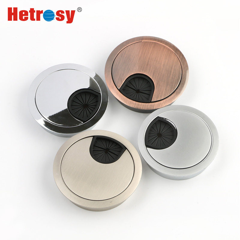 Hetrosy Office Hardware Zinc Alloy Desk Grommet Metal Wire Hole Covers Computer Table Cable Grommets