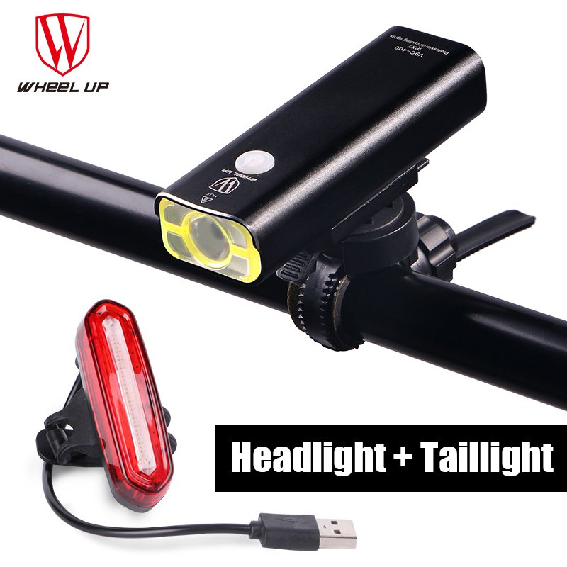 <font><b>WHEEL</b></font> UP 2017 New Arrival Bike Torch MTB Road Bicycle <font><b>Lamp</b></font> Usb Chargeable Led Front Light Tail Light Set Taillight Rear Light