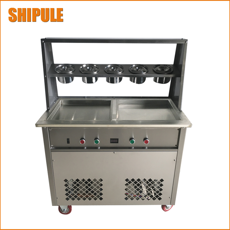 110V/220V fried ice cream machine double pan new double pressure/compressor fried ice cream roll machine shentop stfx cb25 double pan ice cream rolls machines new style fried roll ice cream machine