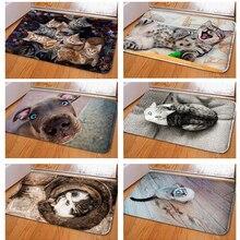 1PC Vintage entrada impermeable de la estera de lindo gato estampado de cachorro piso esteras alfombra de dormitorio Anti-deslizamiento cocina alfombra para inodoro casa Decoración
