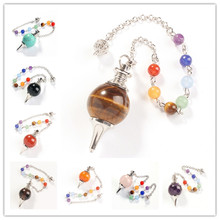 Trendy-beads Silver Plated Chain with 7 Round Beads Chakra Pendulum Pendant Many Style Stone Ethnic Jewelry
