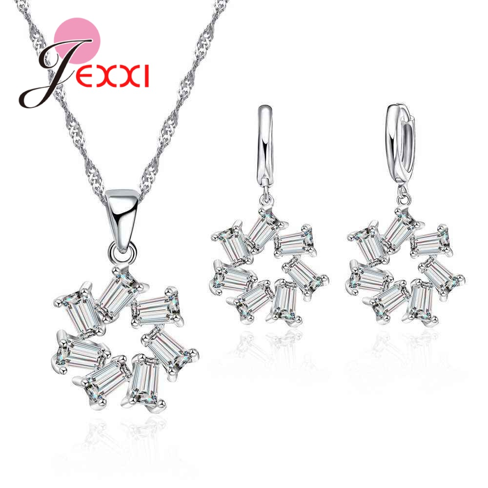 Fine Jewelry Sets 925 Sterling Silver Hollow Blossom Necklace/Earrings Cubic Zirconia Bride Wedding Dress Accessories