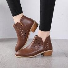981e81f77ed9b الربيع الخريف منتصف الكعوب حذاء من الجلد للنساء فو الجلود مثير الجوف خارج السيدات  أحذية عارضة