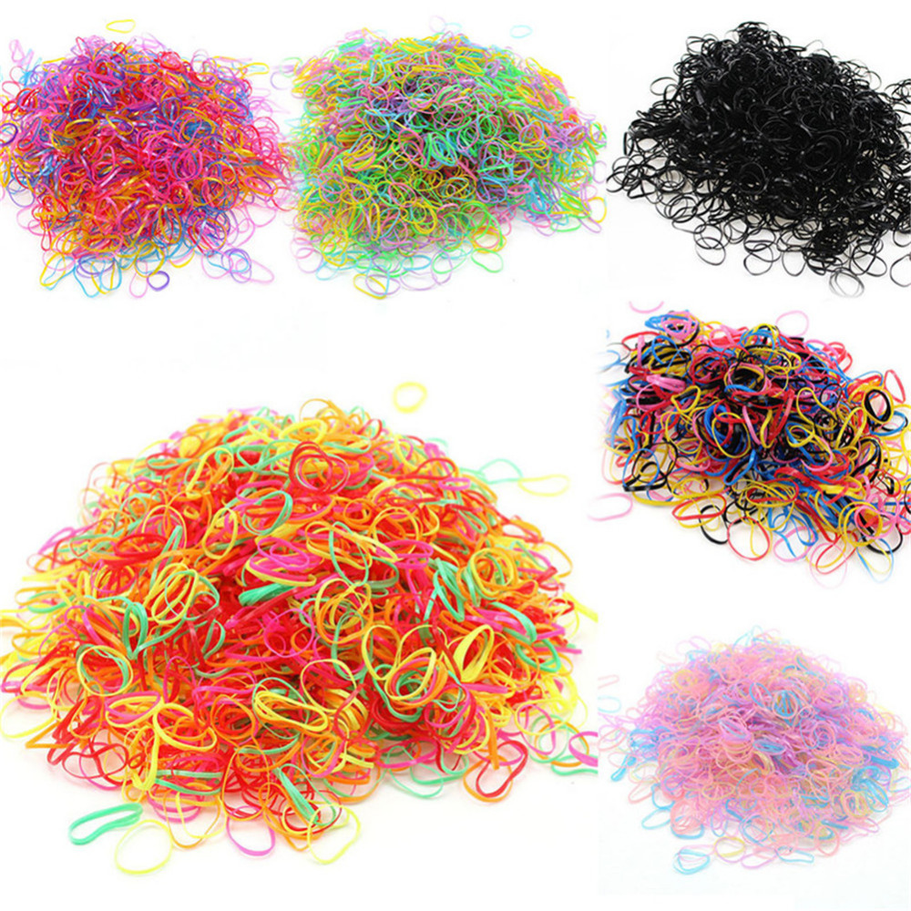 цена на 600pcs/bag Fashion Elasticity Rubber Bands Trendy Kids Baby Child Colorful Elastic Hair Band Tie Rope Braid Hair Style Ring