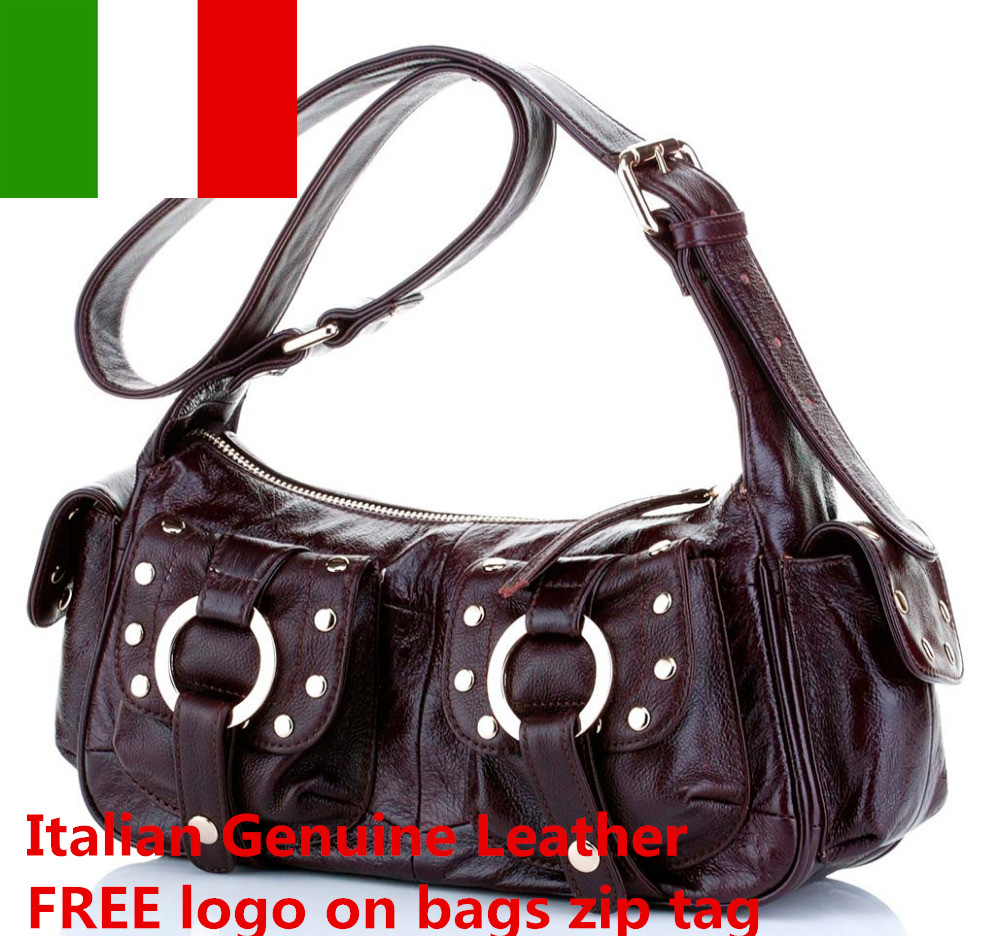 FREE logo Italian Leather Handbags Wholesale genuine leather bags women shoulder bags pillow Serpentine grain bag in Top Handle Bags from Luggage Bags